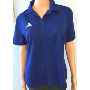Women's Adidas Blue & White Athletic Top Shirt M